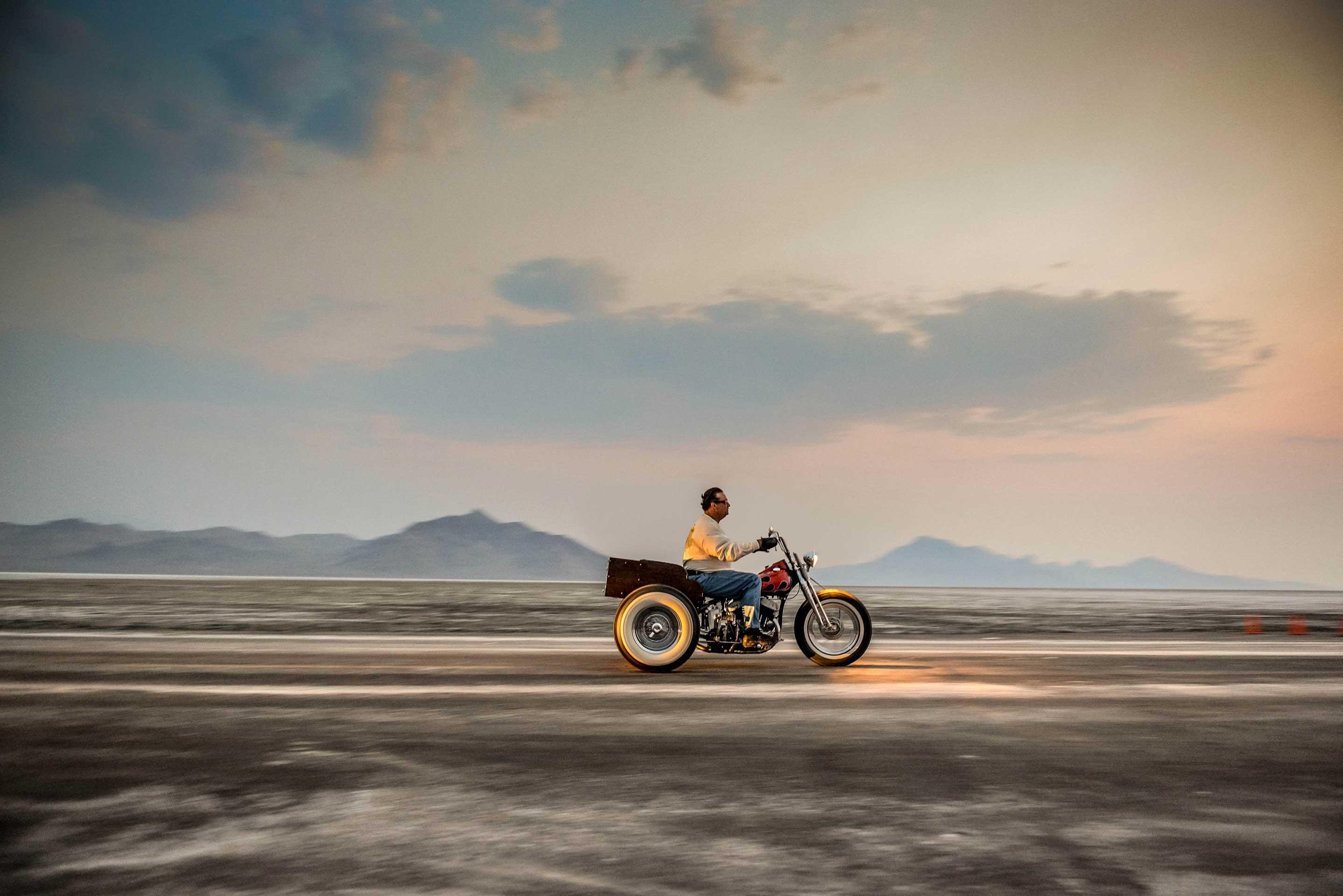 Lone Rider, Sunrise Bonneville Salt Flats - Utah